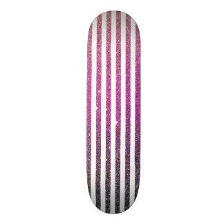 Girly Pink Gradient Stripes Glitter Photo Print Custom Skate Board