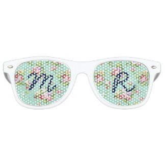 Girly pink green roses flowers pattern monogram retro sunglasses