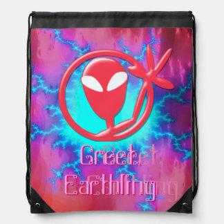 Girly Pink Greeting Alien Greet Earthling Fractal Drawstring Backpack