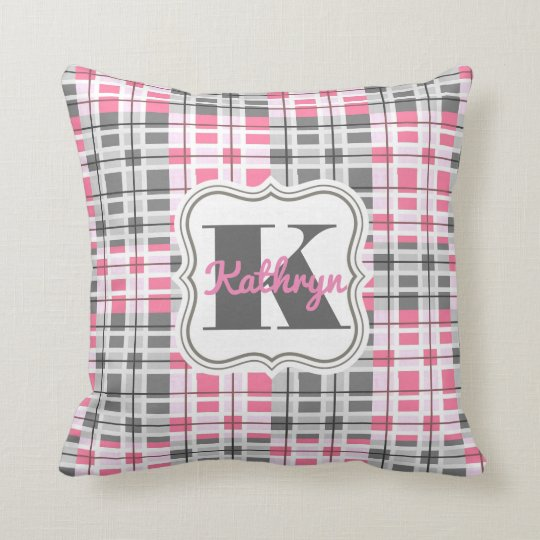 Girly Pink & Grey Abstract w/Personalisation Throw Pillow