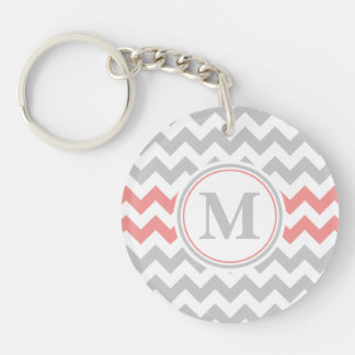 Girly Pink Grey Chevron Pattern with Monogram Double-Sided Round Acrylic Key Ring