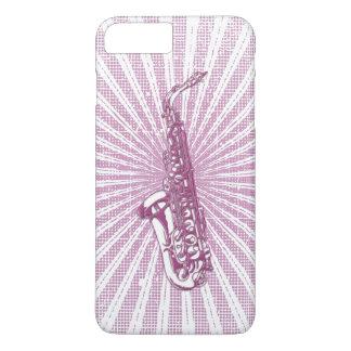 Girly Pink Grunge Saxophone iPhone 7 Plus Case