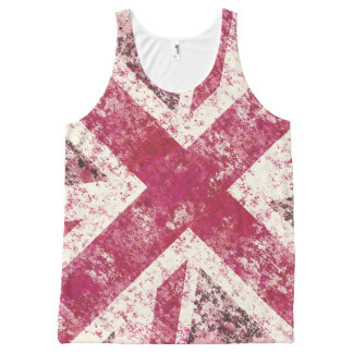 Girly pink  grunge Union Jack All-Over Print Tank Top