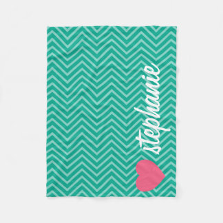 Girly Pink Heart with Trendy Chevrons and Name Fleece Blanket