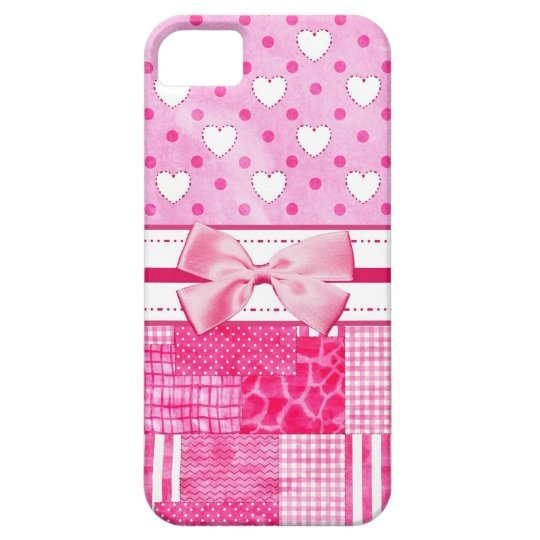 Girly Pink Hearts and Polka Dots Cute Bow and Name iPhone 5 Case