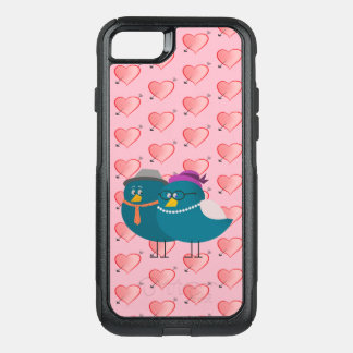 Girly Pink Hearts Cartoon Birds Funny Retro Cute OtterBox Commuter iPhone 7 Case