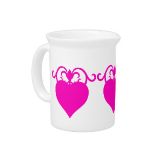 Girly pink hearts drink pitcher