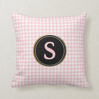 Girly Pink Houndstooth Pattern Monogram Cushion
