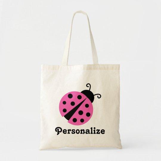 Girly pink ladybug tote bag | Cute ladybird