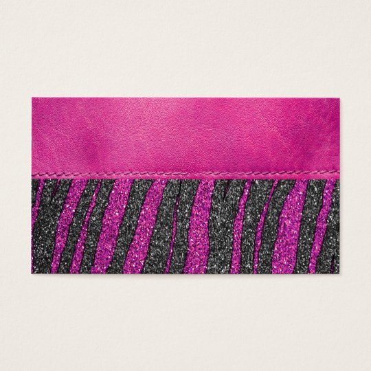 Girly Pink Leather Zebra Pattern Glitter Print Business