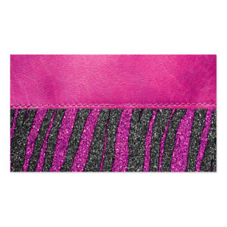 Girly Pink Leather Zebra Pattern Glitter Print Pack Of Standard Business Cards