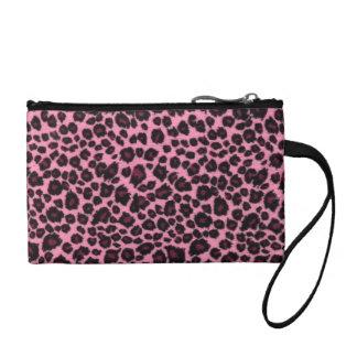 Girly Pink Leopard Cheetah Print Coin Purse