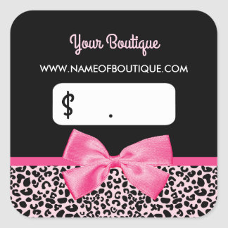 Girly Pink Leopard Print Bow Boutique Price Tag Square Sticker