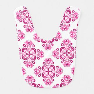 Girly pink maroon damask pattern baby bibs