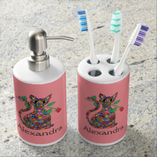 Girly Pink Millefiori Cat with Rose Custom Name Soap Dispenser And Toothbrush Holder