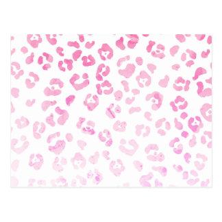 Girly pink modern watercolor animal print postcard