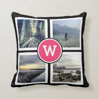Girly Pink Monogram Instagram Photos 2 Sided Cushion