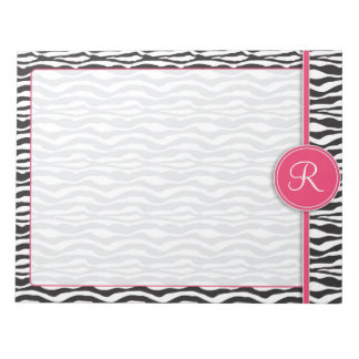 Girly Pink Monogram Zebra Print Notepad