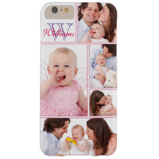 Girly Pink Monogrammed 5 Photo Collage Barely There iPhone 6 Plus Case