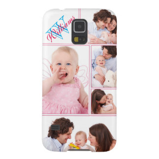 Girly Pink Monogrammed 5 Photo Collage Galaxy S5 Cover