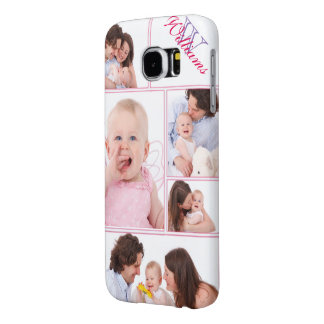 Girly Pink Monogrammed 5 Photo Collage Samsung Galaxy S6 Cases