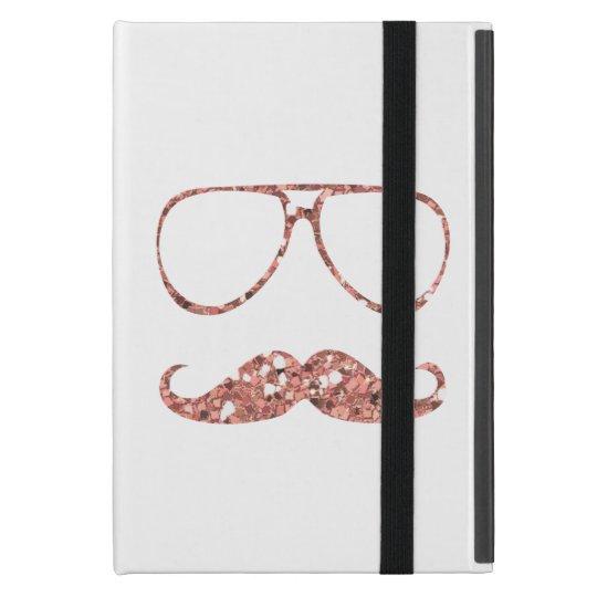 GIRLY PINK MUSTACHE GLASSES GLITTER iPad MINI COVER