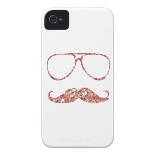 GIRLY PINK MUSTACHE GLASSES GLITTER iPhone 4 CASES : Zazzle