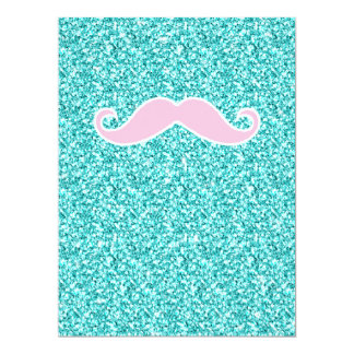 GIRLY PINK MUSTACHE ON TEAL GLITTER EFFECT CARD