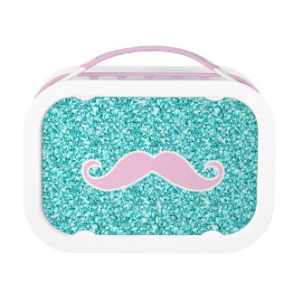 GIRLY PINK MUSTACHE ON TEAL GLITTER EFFECT LUNCH BOX