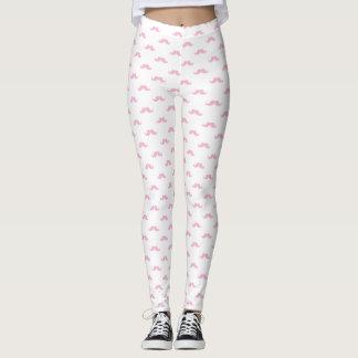 Girly Pink Mustache Pattern Cute Fun Simple Leggings