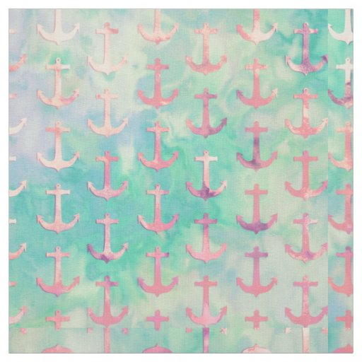 Girly Pink Nautical Anchors Turquoise Watercolor Fabric