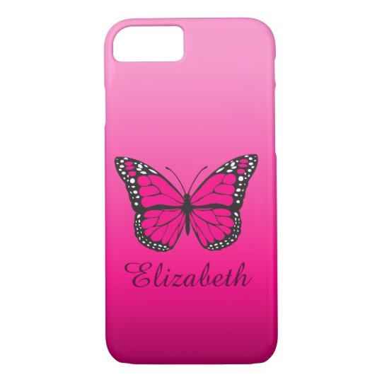 Girly Pink Ombre Butterfly Custom Name iPhone 8/7