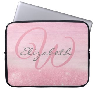Girly Pink Ombre Soft Glitter Shimmer Monogrammed Laptop Sleeve