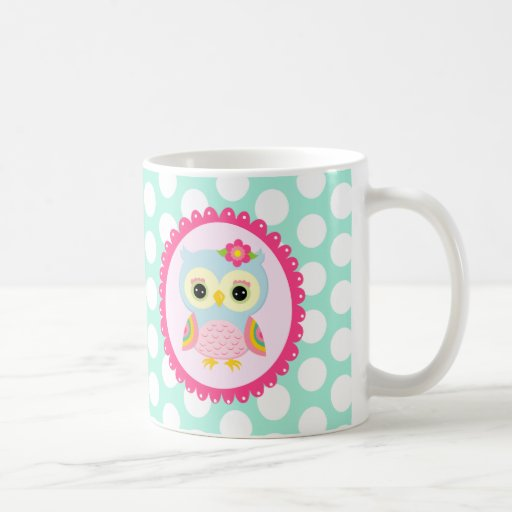 Girly Pink Owl Flower & Rainbow Aqua Polka Dots Coffee Mug