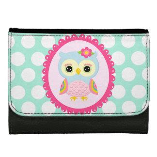 Girly Pink Owl Flower & Rainbow Aqua Polka Dots Wallet