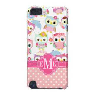Girly Pink Owls Cute Pattern Personalized iPod Touch 5G Covers