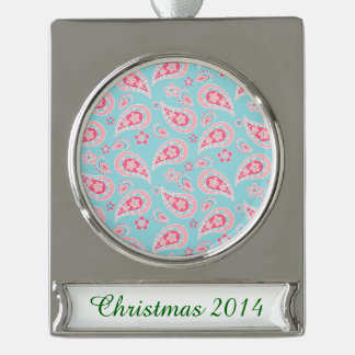 Girly Pink Paisley on Blue Silver Plated Banner Ornament