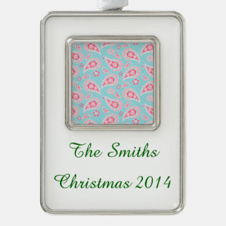 Girly Pink Paisley on Blue Silver Plated Framed Ornament