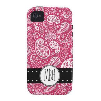Girly PINK Paisley Pattern with Monogram iPhone 4/4S Case