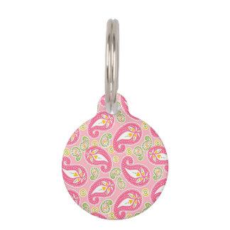 Girly Pink Paisley Pet Name Tag