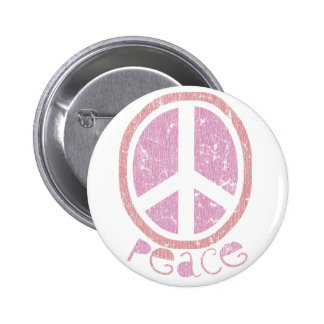 Girly Pink Peace Sign 6 Cm Round Badge