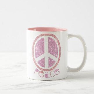 Girly Pink Peace Sign Mugs