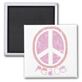 Girly Pink Peace Sign Square Magnet