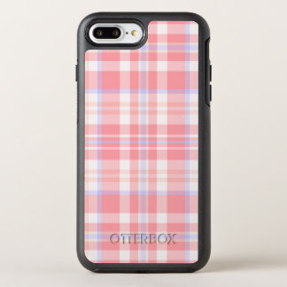 Girly Pink Plaid Pattern OtterBox Symmetry iPhone 8 Plus/7 Plus Case