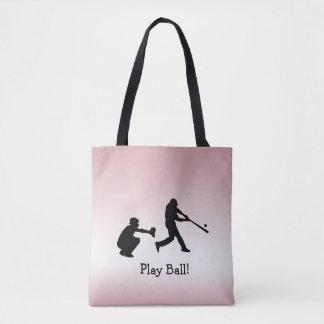 Girly Pink Play Ball Baseball Sports Tote Bag