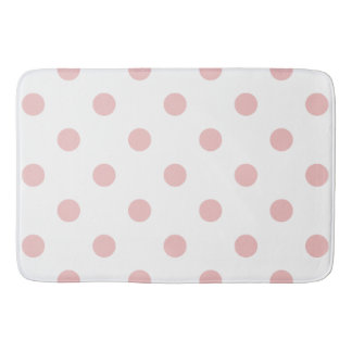 Girly Pink Polka Dots Bath Mat