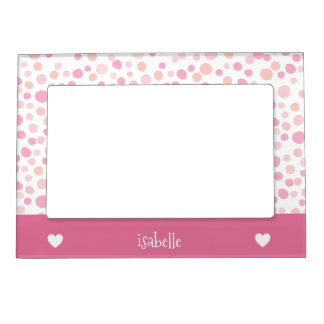 Girly Pink Polka Dots Hearts Personalized Magnetic Picture Frame