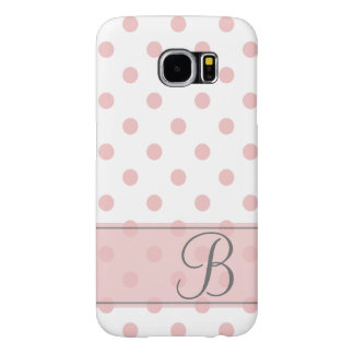 Girly Pink Polka Dots Monogram Samsung Galaxy S6 Cases