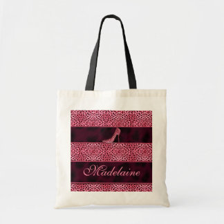 Girly Pink Pump and Cheetah Print Tote Bag