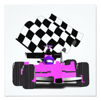 Girly Pink Race Car with Checkered Flag 13 Cm X 13 Cm Square Invitation Card